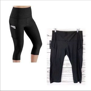 ODODOS black high waist out pocket capris pants